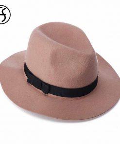 FS Women Red Jazz Caps Wide Brim Wool Felt Fedora Panama Hat Black Elegant Bowknot Cap Fashion Casual Chapeau Womens Hats