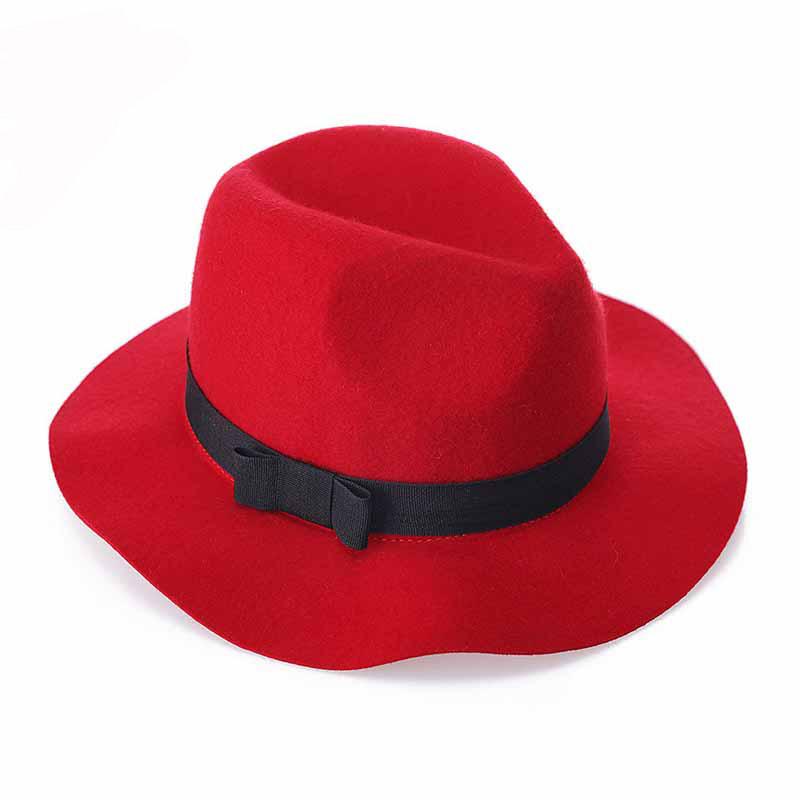 FS Women Red Jazz Caps Wide Brim Wool Felt Fedora Panama Hat Black Elegant Bowknot Cap Fashion Casual Chapeau Womens Hats 1