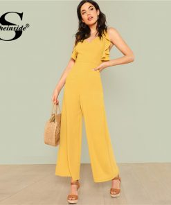Sheinside Ginger Ruffle Wide Leg Jumpsuit Backless Plain Office Ladies Workwear Jumpsuit Summer Women Elegant Jumpsuit