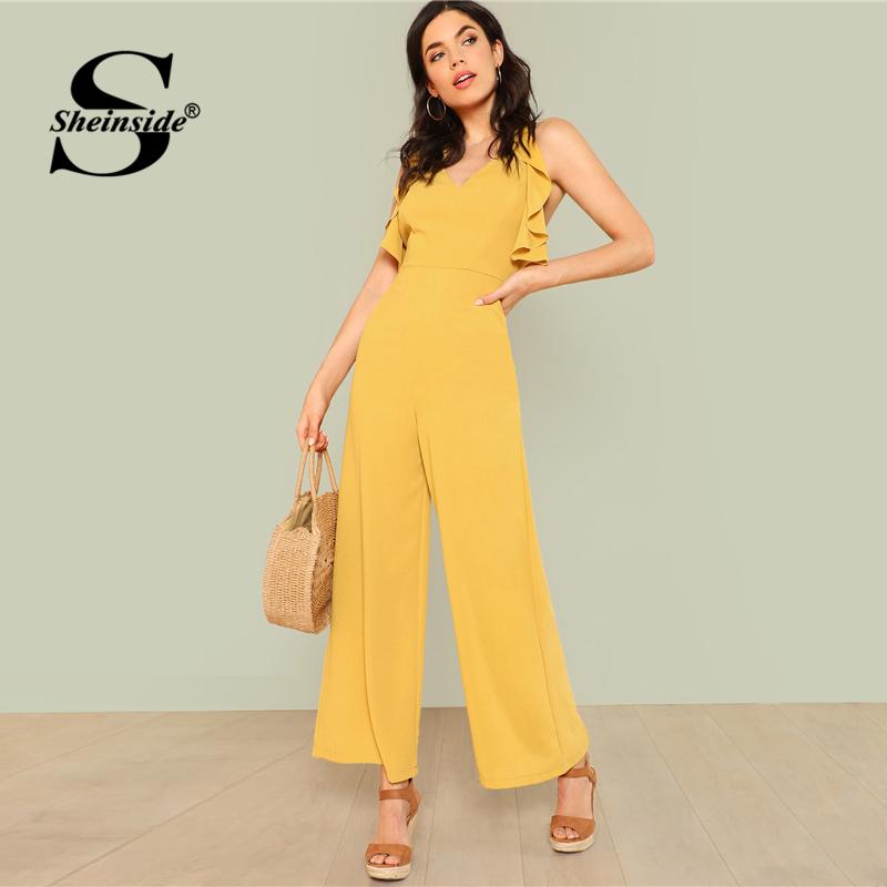 Sheinside Ginger Ruffle Wide Leg Jumpsuit Backless Plain Office Ladies Workwear Jumpsuit Summer Women Elegant Jumpsuit