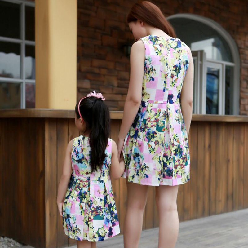 1pc Mother Daughter Dresses Family Clothing Summer Mom Girl Fashion Short Floral Family Look matching mother daughter clothes 1