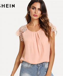 SHEIN Floral Lace Cap آستین Pleated Top Pink Scoop Neck Short آستین Women Plain Blouse 2018 Summer Weekend Casual Blouse