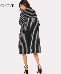 COLROVIE Vertical Striped Longline Kimono 2018 New Arrival Summer 3/4 Sleeve Split Casual Kimono Black And White Women Clothing 1