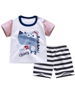 Cartoon Baby Boy Clothing Set Summer 2018 New Style Infant Clothes Baby Girls Clothing Cotton Short آستین Baby Boy Clothes 1