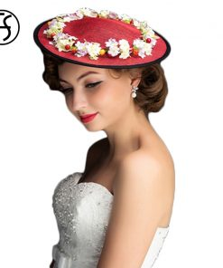 FS Floral Fedora Hats for Women for Church Linen Classic Vintage Wedding Hats and Fascinators Red Fedora