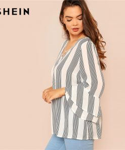 SHEIN Black and White Striped Criss Cross Front Flounce آستین Casual Summer Top Womens Tops and Blouses Plus سایز Blouse  1