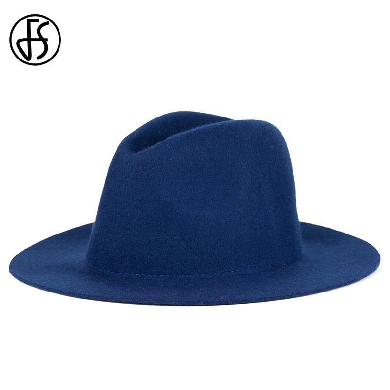 FS British Styles Black Fedora Hat For Women Fashion Wool Bowler Felt Hats Vintage Female Jazz Cap Chapeau Femme