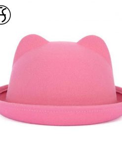 FS 13 Colors Autumn Winter Women Felt Fedora Hats With Ears Bowler Hat Trilby Quality Polyester Round Caps Casual Fedoras