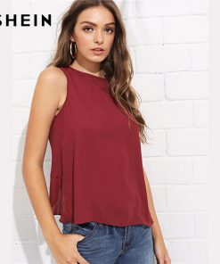 SHEIN Burgundy Elegant Bow Knot Curved Back Shell Round Neck Sleeveless Solid Blouse Summer Women Weekend Casual Shirt Top 1