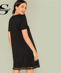 Sheinside Black Shift Dress Office Ladies Workwear Pockets Tassel Elegant Dress Summer Short Sleeve Plain Casual Short Dress 1