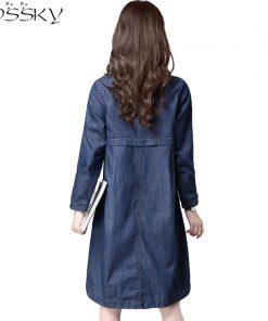 2017 Big Yard Autumn Women Jeans Dress Spring Ladies Office Long Sleeve Denim Dress Plus Size Female Clothing Vestidos De Festa 1