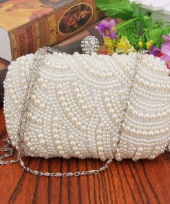 Oval Shaped Pearl Beaded Handbag Women White Clutch Bag Elegant Long Chain Shoulder Handbags Wedding Bridal Purse Clutch Female 1