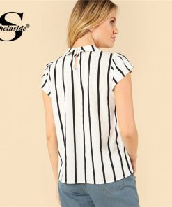 Sheinside Tie Neck Vertical Striped Top Cap Sleeve Office Ladies Workwear Elegant Shirt 2018 Summer Women Casual Blouse 1