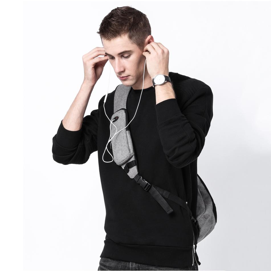 KAKA 2018 New Arrival Male Shoulder Bags USB Charging Crossbody Bags Men Anti theft Chest Bag Summer Short Trip Messengers Bag  1
