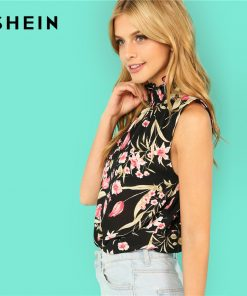 SHEIN Multicolor Elegant Stand Collar Neck Smocked Sleeveless Floral Print Ruffle Blouse Summer Women Weekend Casual Shirt Top 1