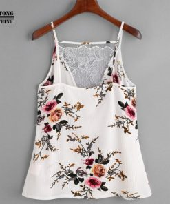 FEITONG 2017 Women White Lace Vest Top Sleeveless Casual Tank Blouse Summer Tops Shirt 1