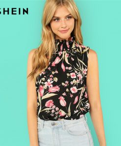 SHEIN Multicolor Elegant Stand Collar Neck Smocked Sleeveless Floral Print Ruffle Blouse Summer Women Weekend Casual Shirt Top