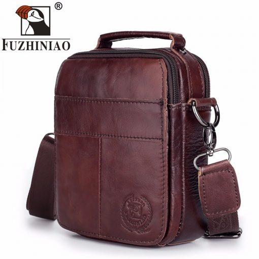 FUZHINIAO Designer Top Genuine Cowhide Leather Men's Shoulder Bag Clutch Handbag Messenger Male Bags Crossbody Sling Tote Small