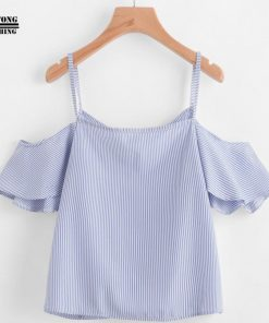 FEITONG 2017 Women Summer Blue Striped Pinstripe Blouse Cold Shoulder Top slash neck blue fashion ladies blouses summer tops  1