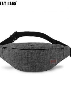 TINYAT Men Male Casual Functional Fanny Bag Waist Bag Money Phone Belt Bag Pouch T201 Gray Black Bum Hip Bag Shoulder belt pack  1