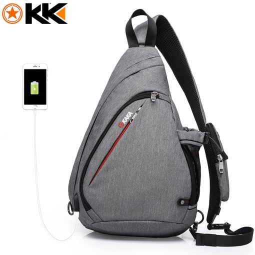 KAKA 2018 New Arrival Male Shoulder Bags USB Charging Crossbody Bags Men Anti theft Chest Bag Summer Short Trip Messengers Bag