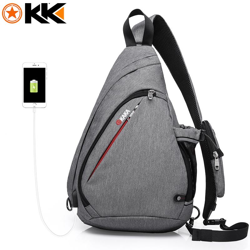 KAKA 2018 New Arrival Male Shoulder Bags USB Charging Crossbody Bags Men Anti theft Chest Bag Summer Short Trip Messengers Bag