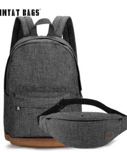 TINYAT Men Canvas Backpack School Casual Laptop Backpack Gray Composition Bags Leisure Male Waist Belt Bag Crossbody t101 t201