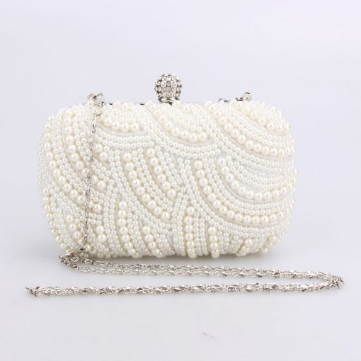 Oval Shaped Pearl Beaded Handbag Women White Clutch Bag Elegant Long Chain Shoulder Handbags Wedding Bridal Purse Clutch Female 2