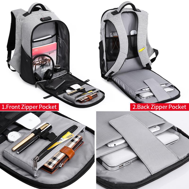 "KAKA Fashion Function Men Backpack for Laptop Bag 15.6"" Large Capacity USB Recharging Computer Anti theft Backpack Male Mochila 1"