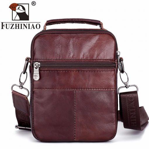 FUZHINIAO Designer Top Genuine Cowhide Leather Men's Shoulder Bag Clutch Handbag Messenger Male Bags Crossbody Sling Tote Small  1