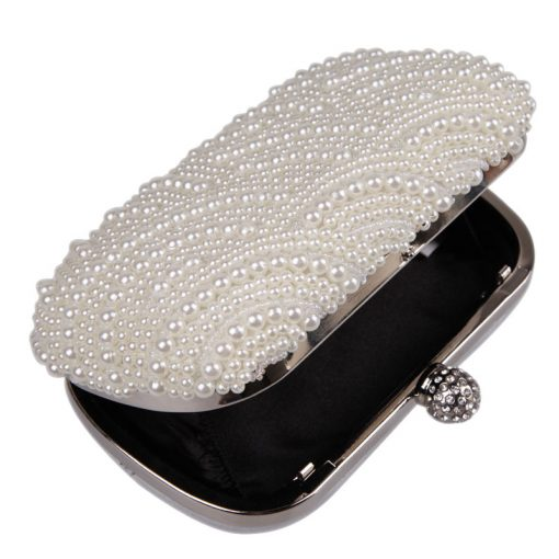 Oval Shaped Pearl Beaded Handbag Women White Clutch Bag Elegant Long Chain Shoulder Handbags Wedding Bridal Purse Clutch Female 4