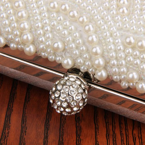 Oval Shaped Pearl Beaded Handbag Women White Clutch Bag Elegant Long Chain Shoulder Handbags Wedding Bridal Purse Clutch Female 5