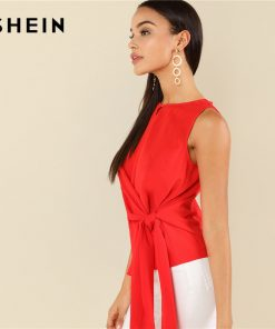 SHEIN Red Elegant Round Neck Sleeveless Buttoned Keyhole Knot Front Shell Blouse Summer Women Weekend Casual Shirt Top 1