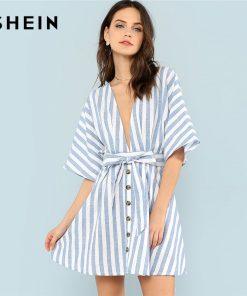 SHEIN Deep V Neck Button Front Striped Dress 2018 Summer Blue Striped Half Sleeve Dress Women Batwing Sleeve Belt Halter Dress
