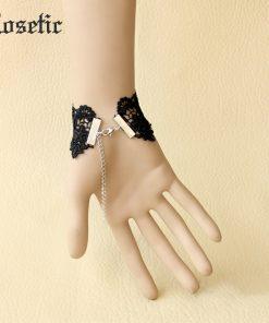 Rosetic Woman Gothic Vintage Black Lace Bracelet Black Hollow Tassel Handmade Girls Party Club Chain Bracelets Gifts Accessories 1