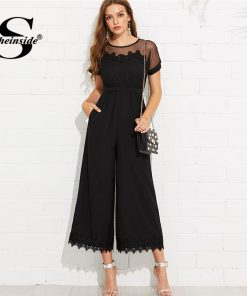 Sheinside  Mesh Shoulder Lace Hem Palazzo Jumpsuit Round Neck Short Sleeve Summer Jumpsuit Office Ladies Black Wide Leg Jumpsuit