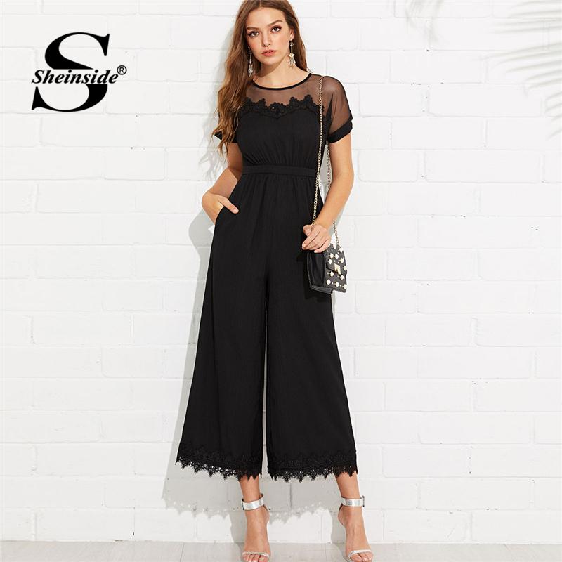 Sheinside  Mesh Shoulder Lace Hem Palazzo Jumpsuit Round Neck Short Sleeve Summer Jumpsuit Office Ladies Black Wide Leg Jumpsuit