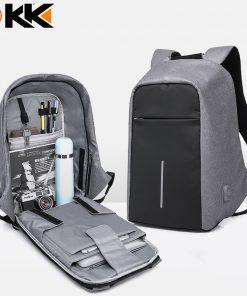 KAKA17012 Fashion Black Male Backpack Men USB Waterproof Boddy Anti theft Backpack Laptop Bag 15.6 Mochilas School Mens Backpack