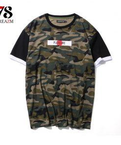 2018 cotton t shirts mens new summer street wear hip hop T-SHIRTS brand fashion zipper on sleeve t-shirts pure color