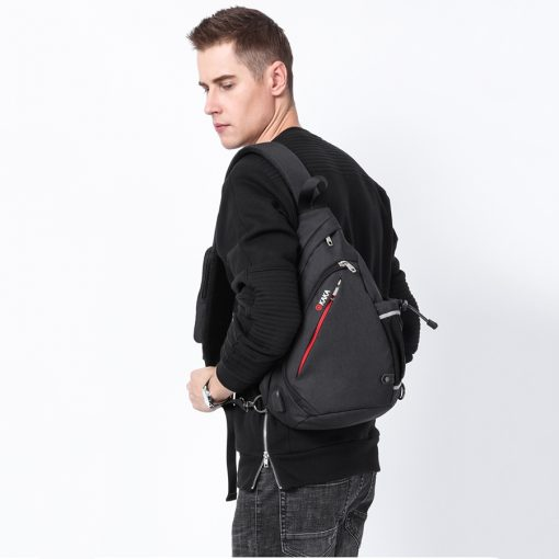 KAKA 2018 New Arrival Male Shoulder Bags USB Charging Crossbody Bags Men Anti theft Chest Bag Summer Short Trip Messengers Bag  5