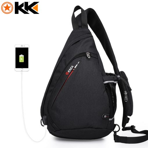 KAKA 2018 New Arrival Male Shoulder Bags USB Charging Crossbody Bags Men Anti theft Chest Bag Summer Short Trip Messengers Bag  3