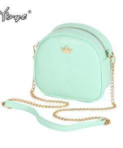 YBYT brand 2018 new mini fashion Imperial crown circular package high quality lady shopping handbag women shoulder messenger bag