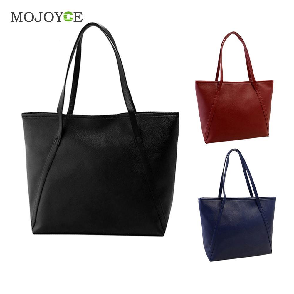 Simple Fashion Handbags Women Shoulder Bags Solid Color Big Tote Bag Bolsa Women PU Leather Handbags Black Bucket Bolsa Feminina 1