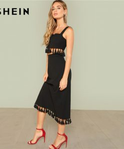 SHEIN Black Sexy Thick Strap Square Neck Sleeveless Tasseled Crop Top And Skirt Summer Party Elegant Twopiece For Women 1