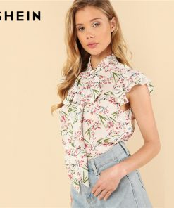 SHEIN Multicolor Elegant Floral Print Flutter Sleeve Tied Neck Botanical Ruffle Blouse Summer Women Weekend Casual Shirt Top 1