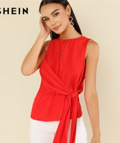 SHEIN Red Elegant Round Neck Sleeveless Buttoned Keyhole Knot Front Shell Blouse Summer Women Weekend Casual Shirt Top