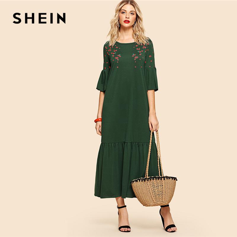 SHEIN Green Elegant Flower Blossom Print Flounce Fluted Sleeve Tiered Hem Round Neck Dress Summer Women Weekend Casual Dresses