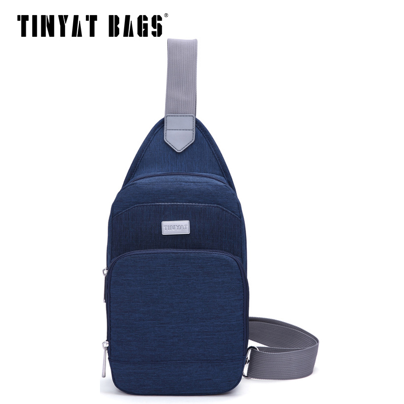 TINYAT Casual Men's chest bag women messenger bag Portable Crossbody bag waterproof nylon shoulder bag t606 black/Blue 1