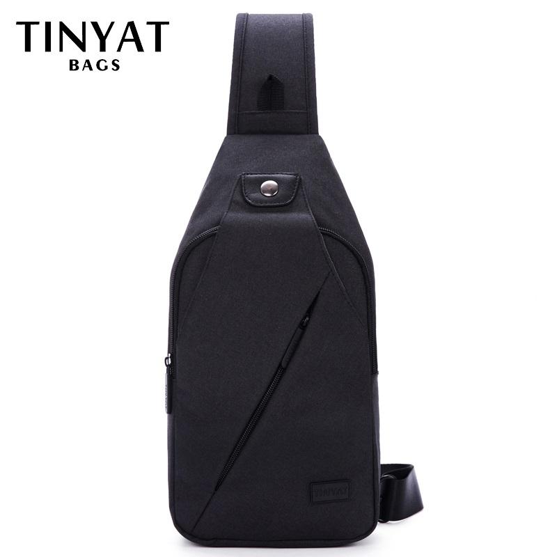TINYAT Summer Design Male Crossbody Bag Shoulder Bags for Men Fit For 7.9 inch Ipad Functional Waterproof Travel Chest Pack T609