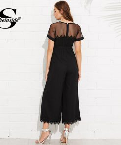 Sheinside  Mesh Shoulder Lace Hem Palazzo Jumpsuit Round Neck Short Sleeve Summer Jumpsuit Office Ladies Black Wide Leg Jumpsuit 1